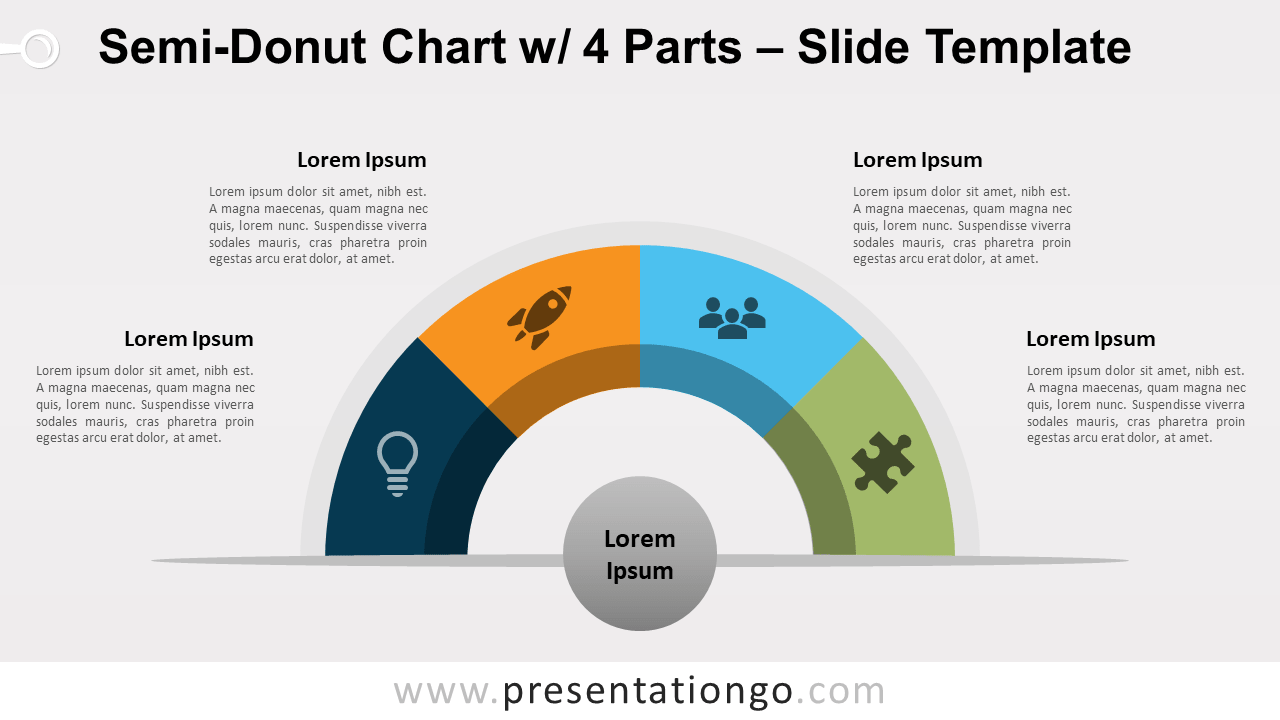 Free Semi-Donut Chart with 4 Parts for PowerPoint and Google Slides