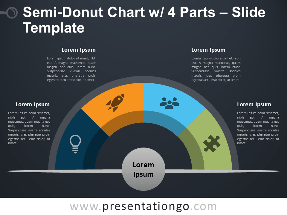 Free Semi-Donut Chart with 4 Parts PowerPoint Template Slide