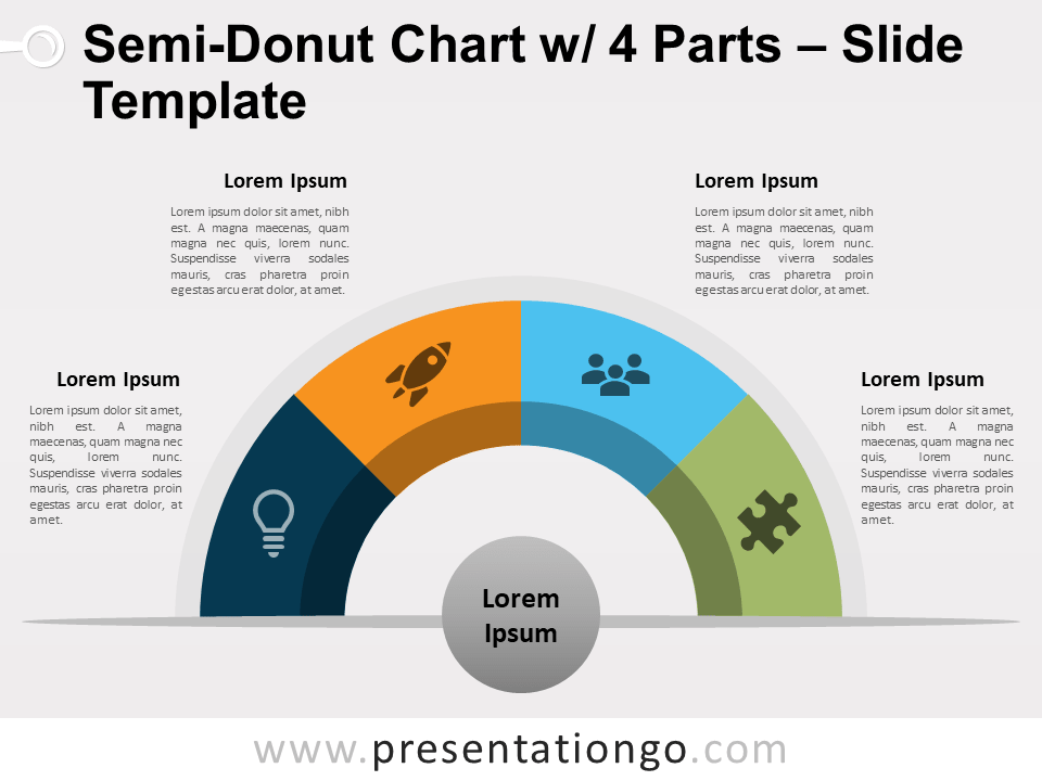 Free Semi-Donut Chart with 4 Parts PowerPoint Template