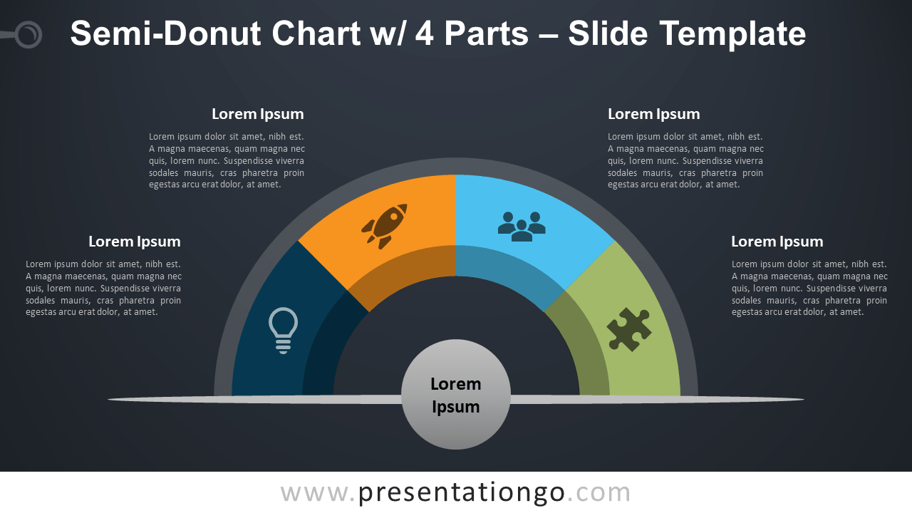 Free Semi-Donut Chart with 4 Parts for PowerPoint
