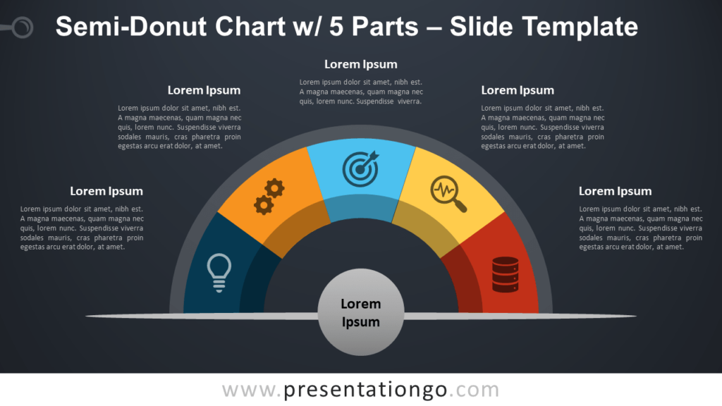 Free Semi-Donut Chart with 5 Parts for PowerPoint