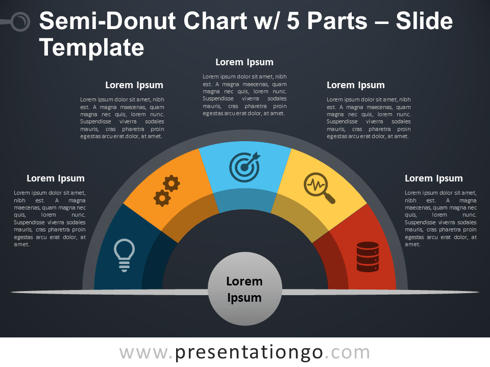 Free Semi-Donut Chart with 5 Parts PowerPoint Slide