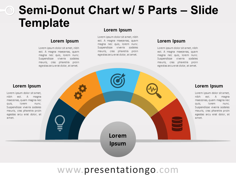 Free Semi-Donut Chart with 5 Parts PowerPoint