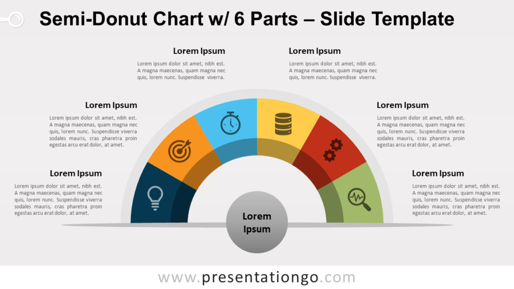 Free Semi-Donut Chart with 6 Parts for PowerPoint and Google Slides