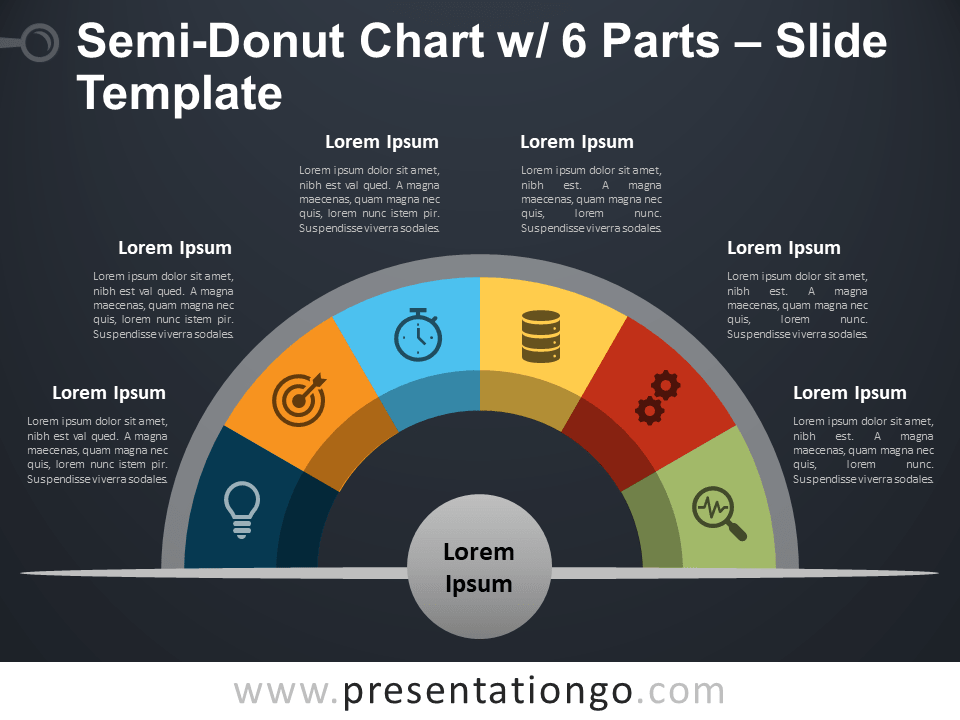 Free Semi-Donut Chart with 6 Parts PowerPoint Template Slide