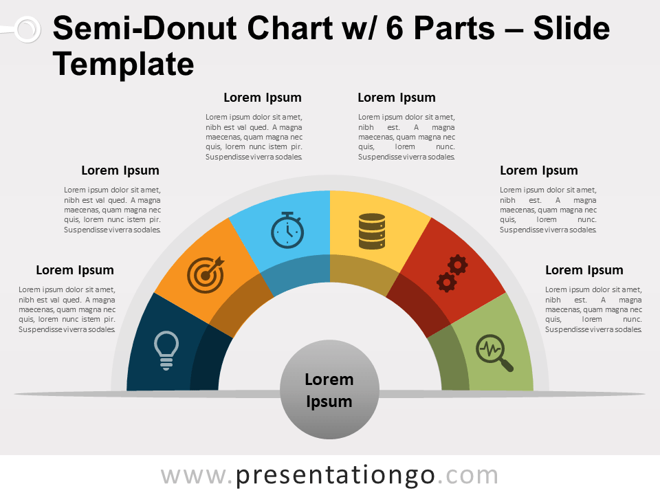 Free Semi-Donut Chart with 6 Parts PowerPoint Template