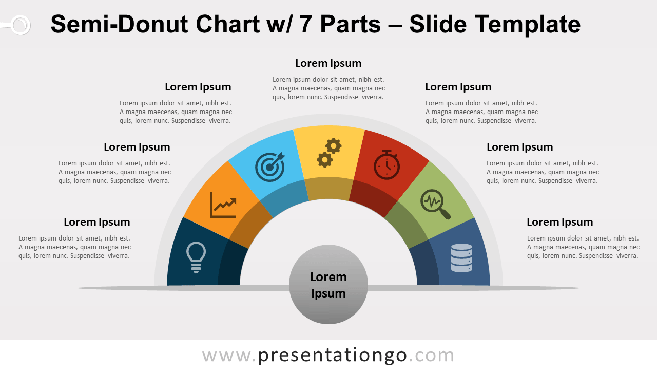 Free Semi-Donut Chart with 7 Parts for PowerPoint and Google Slides