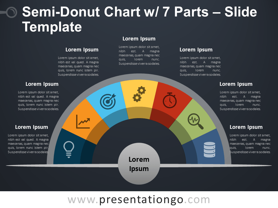 Free Semi-Donut Chart with 7 Parts PowerPoint Template Slide