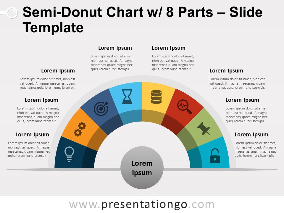 Free Semi-Donut Chart with 8 Parts PowerPoint Template