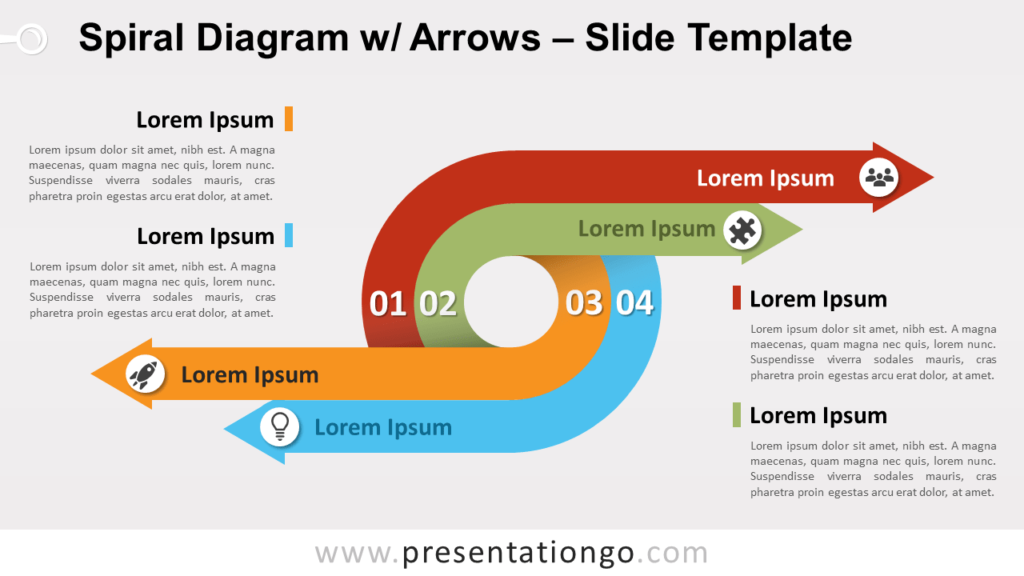 Free Spiral Diagram with Arrows for PowerPoint and Google Slides