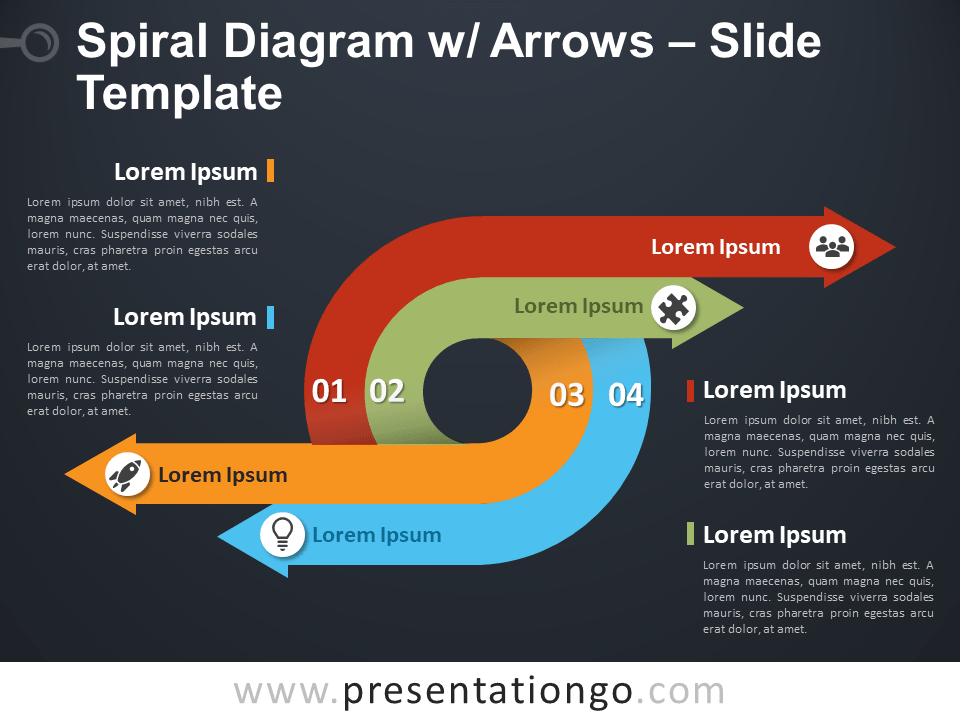 Free Spiral Diagram with Arrows PowerPoint Template Slide