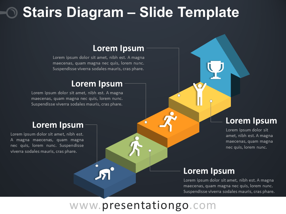 Stairs Diagram for PowerPoint - Free Slide Template