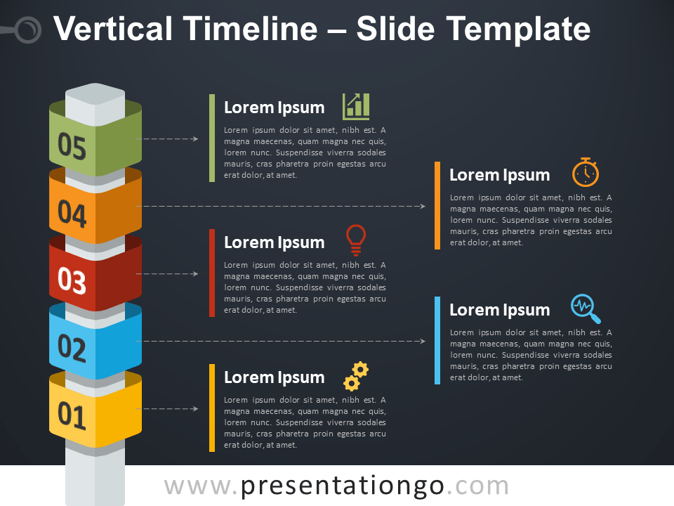 Free Vertical Timeline with Cubes Diagram