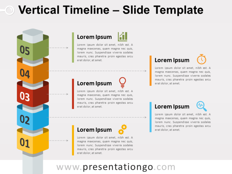 Free Vertical Timeline with Cubes Slide Template