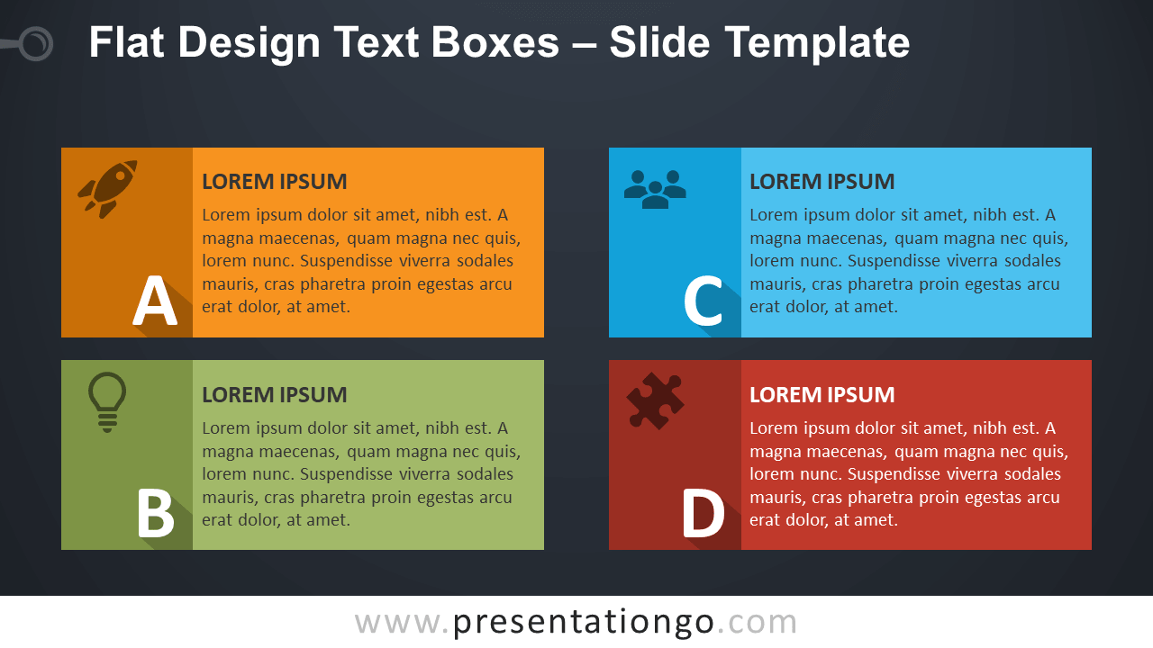 Free YA Flat Design Text Boxes for PowerPoint