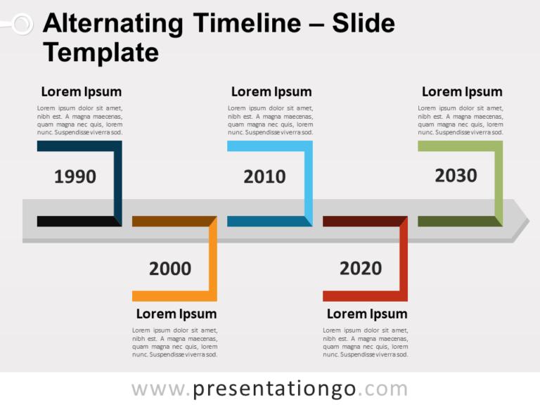 Free Alternating Timeline for PowerPointt