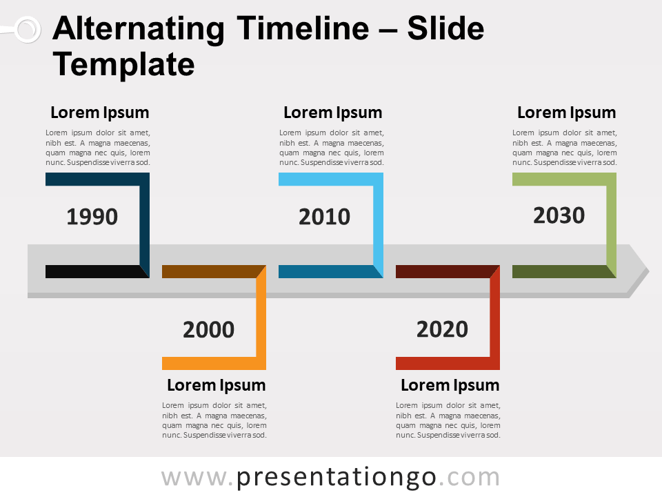 Alternating Timeline for PowerPoint and Google Slides