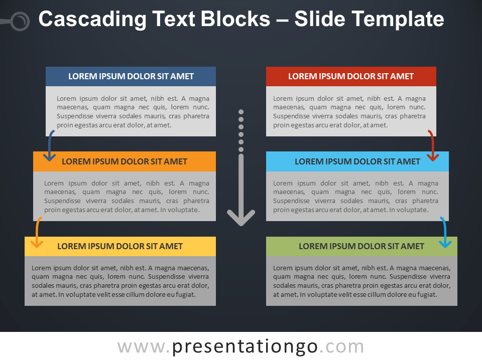 Free Cascading Text Blocks PowerPoint Template