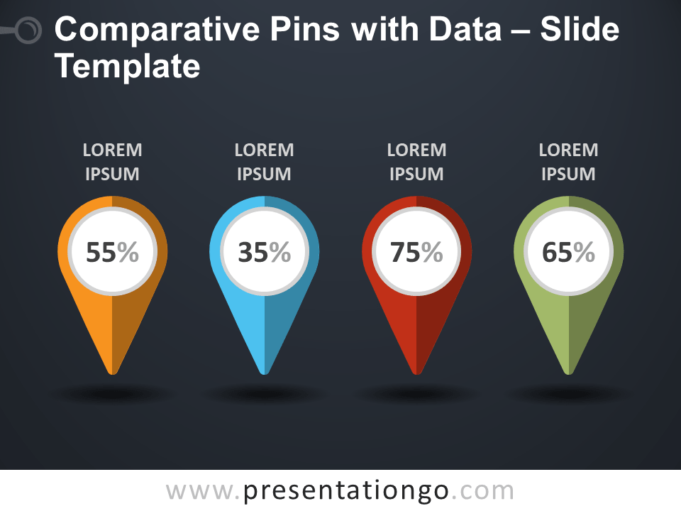 Free Comparative Pins with Data PowerPoint Template