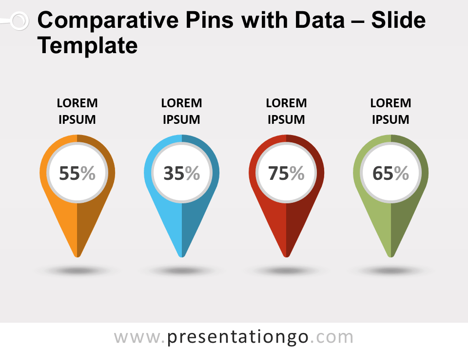 Free Comparative Pins with Data for PowerPoint