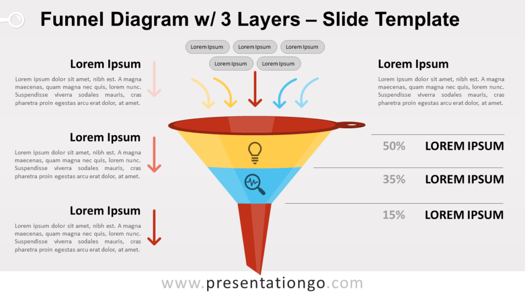Free Funnel Diagram with 3 Layers for PowerPoint and Google Slides