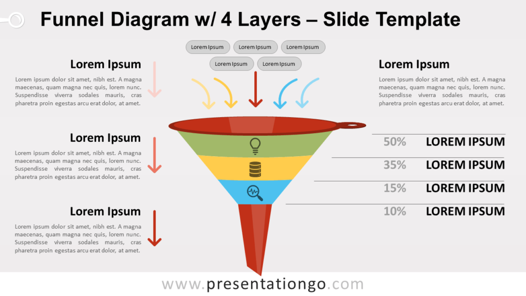Free Funnel Diagram with 4 Layers for PowerPoint and Google Slides