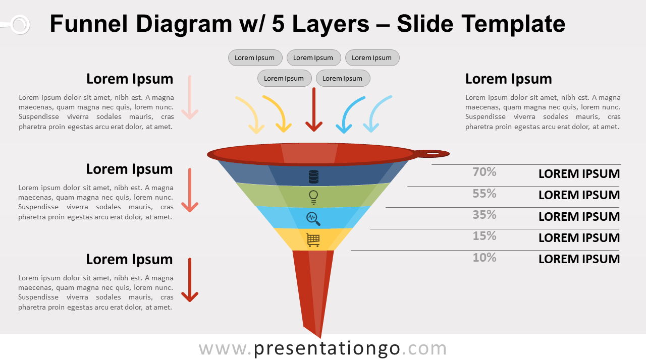 Free Funnel Diagram with 5 Layers for PowerPoint and Google Slides