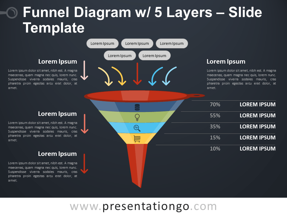 Free Funnel Diagram with 5 Layers PowerPoint Template