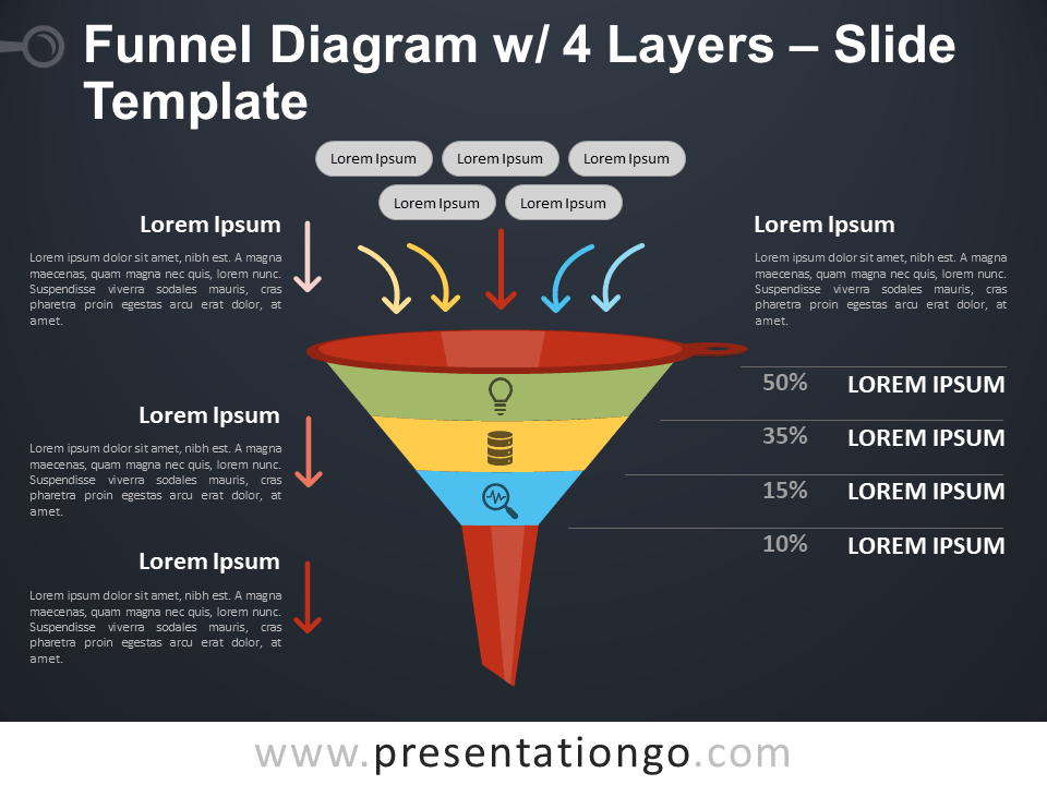 Free Funnel Diagram with 4 Layers PowerPoint Template