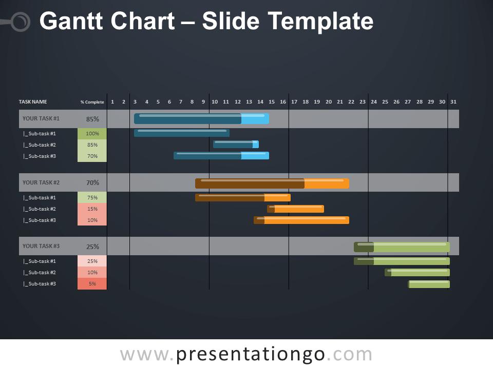 Free Gantt Chart Diagram for PowerPoint