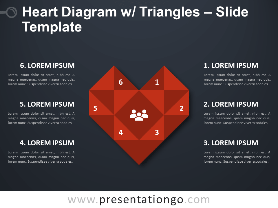 Free Heart Diagram with Triangles PowerPoint Template