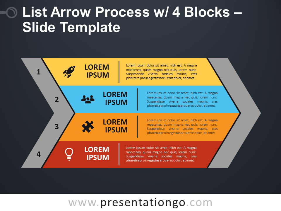 Free List Arrow Process with 4 Blocks PowerPoint Template
