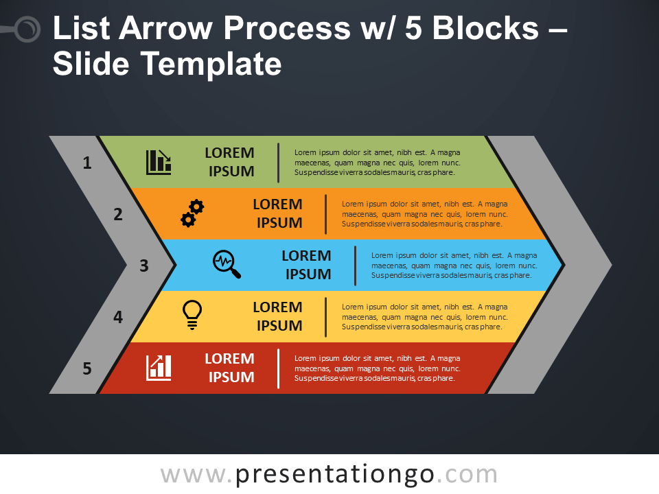 Free List Arrow Process with 5 Blocks PowerPoint Template