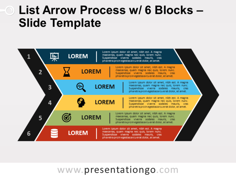 Free List Arrow Process with 6 Blocks for PowerPoint