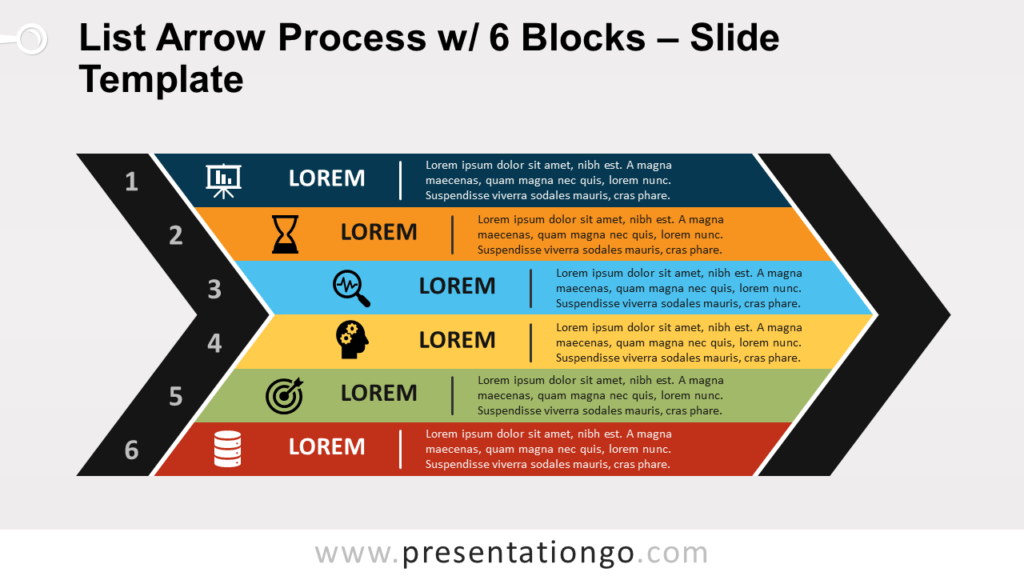 Free List Arrow Process with 6 Blocks for PowerPoint and Google Slides