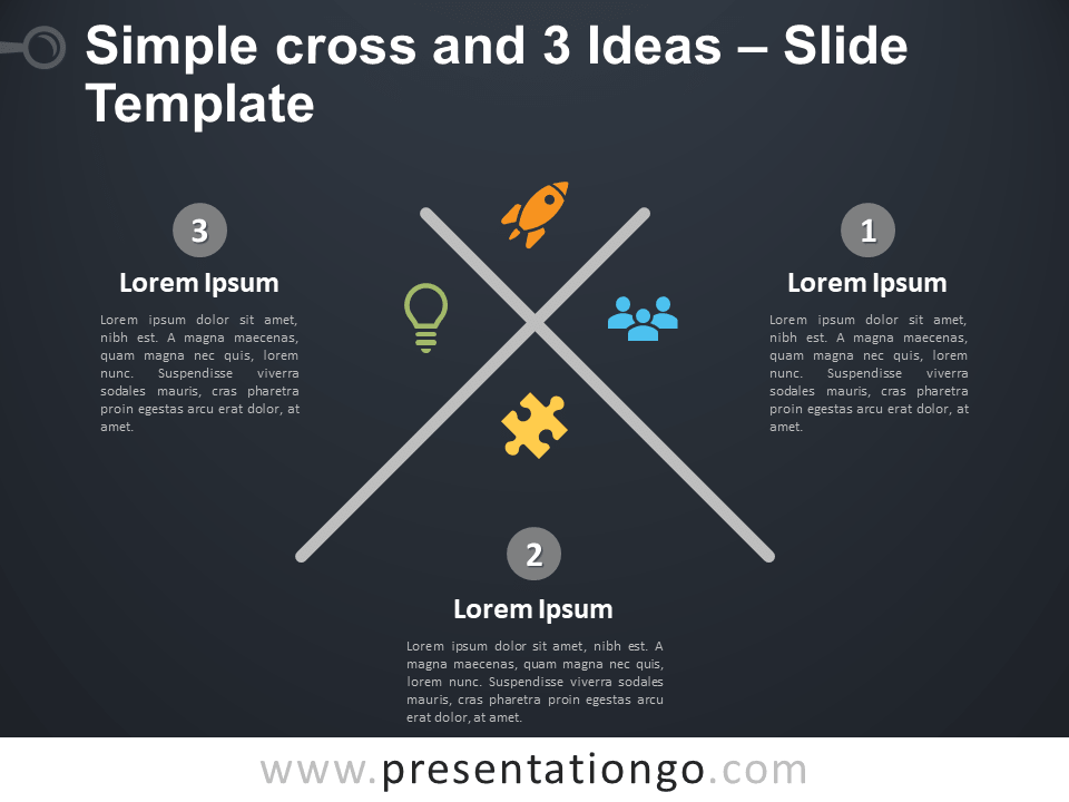 Free Simple Cross with 3 Ideas PowerPoint Template