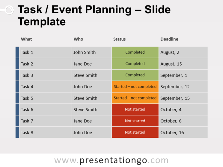 Free Task / Event Planning for PowerPoint