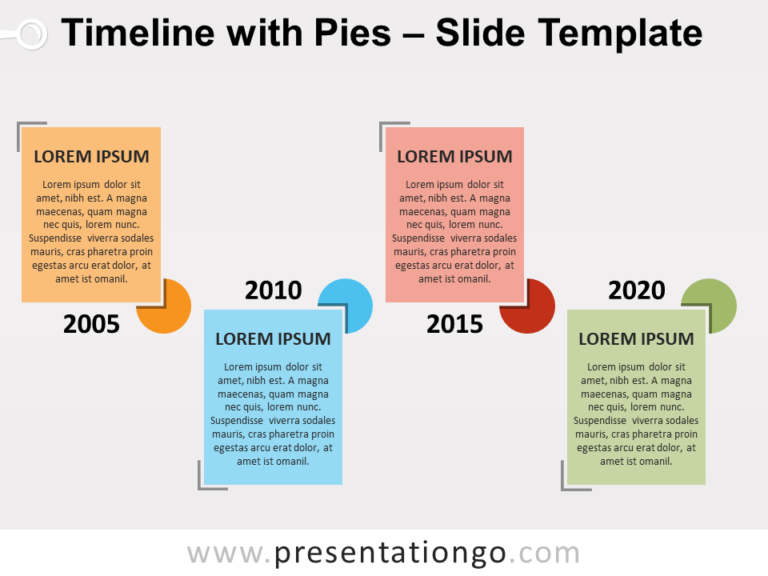 Free Timeline with Pies for PowerPoint
