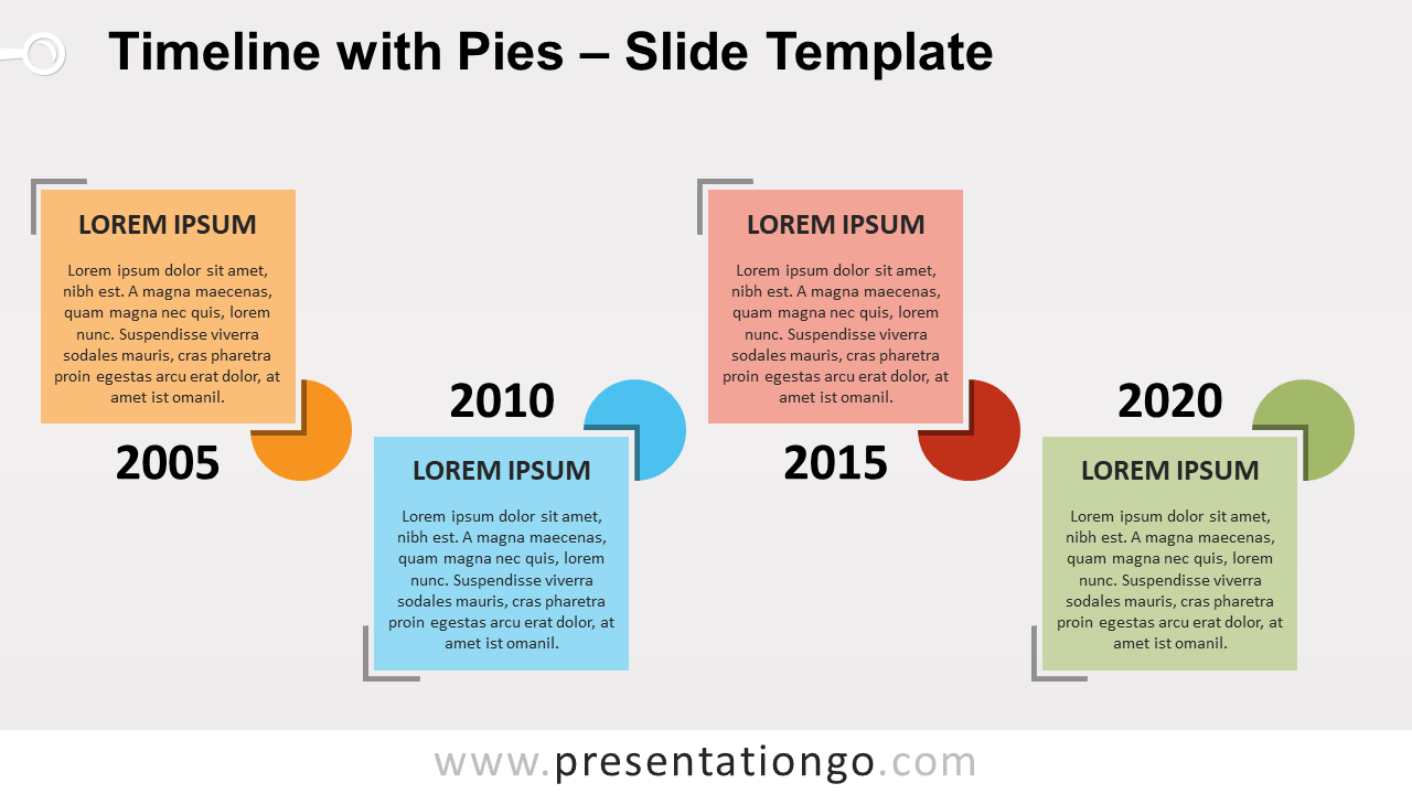 Free Timeline with Pies for PowerPoint and Google Slides