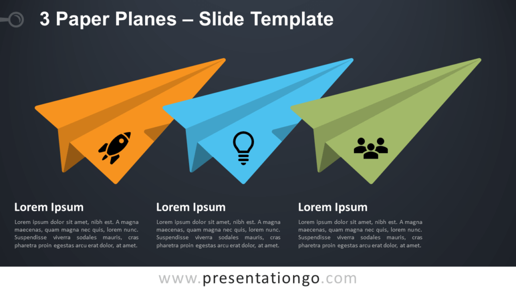 Free 3 Paper Airplanes for PowerPoint and Google Slides