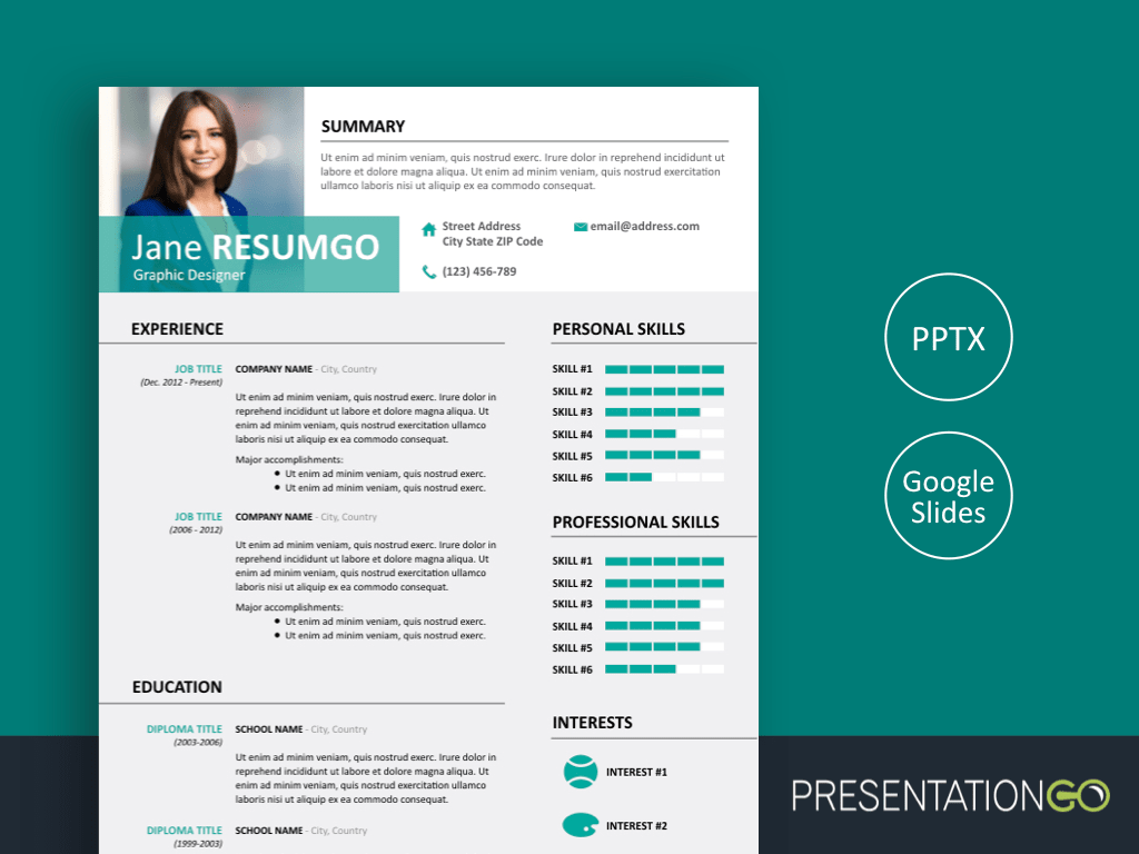Alecta Professional Resume Template For Powerpoint And Google Slides