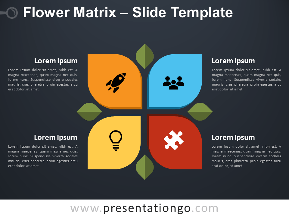 Free Flower Matrix Diagram for PowerPoint