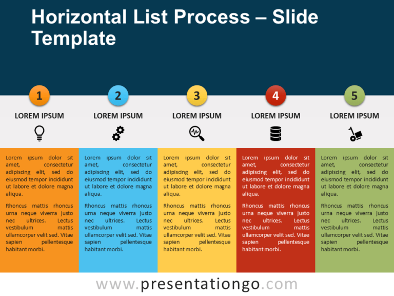 Free Horizontal List Process for PowerPoint