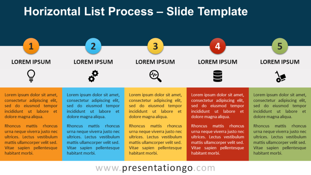 Free Horizontal List Process for PowerPoint and Google Slides