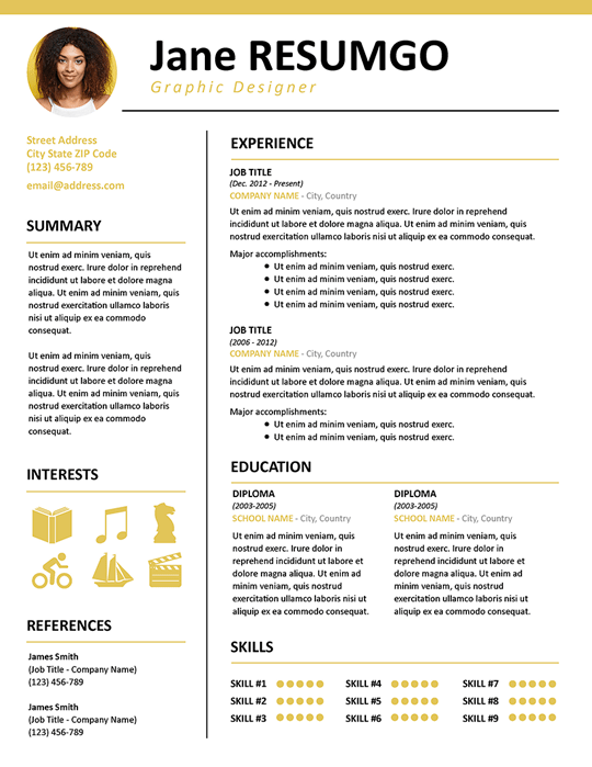 KALLIAS - Free Gold Resume Template for PowerPoint and Google Slides