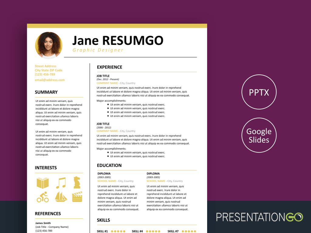 Free Resume Powerpoint Templates Presentationgo Com