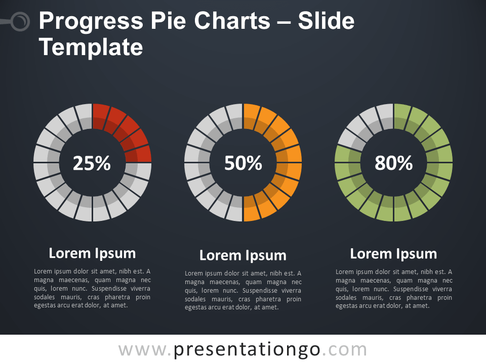 Free Progress Pie Chart for PowerPoint