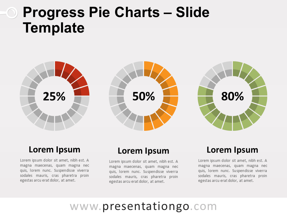Free Progress Pie Charts for PowerPoint
