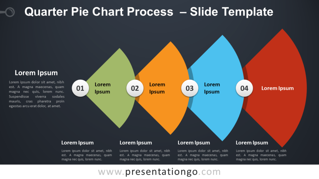 Free Quarter Pie-Chart Process Diagram for PowerPoint and Google Slides