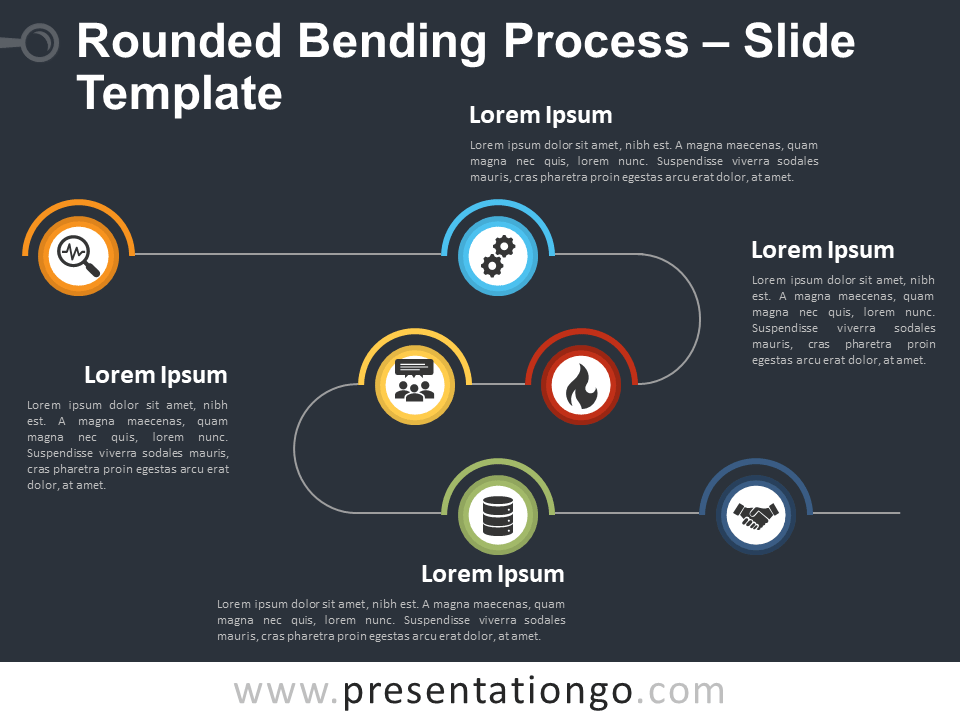 Free Rounded Bending Process Diagram for PowerPoint
